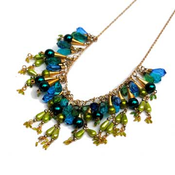 Turquoise & Lime Mix Drop Necklace